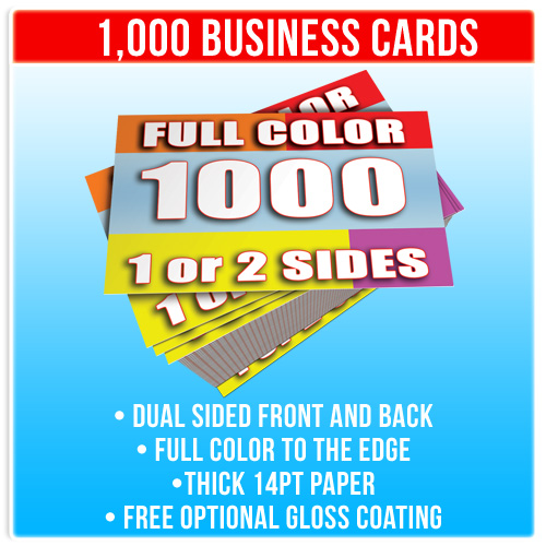 1000 double sided full color business cards ebay for Business cards 1000