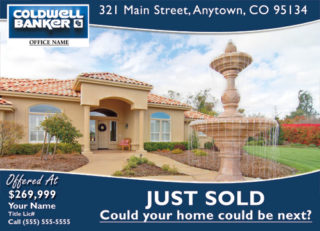 Coldwell banker just listed postcards business cards for Real estate just sold flyer templates