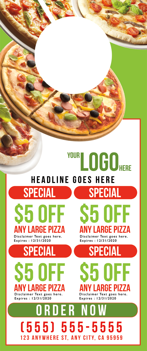 Pizza Door Hanger Template   Business Cards Flyers And Banners