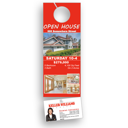 Keller Williams Door Hangers door hanger w/ business card 3.5x11 - free shipping 1000 for 163.00